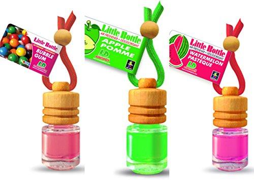 3 elegante Duftflakons für Auto und Wohnung Bestseller Mix: 1 x Apple - Apfel, 1 x Bubble Gum - Kaugummi, 1 x Watermelon - Wassermelone -