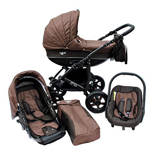 Cleo Kombi Kinderwagen 3 in 1 Komplettset - braun/schwarz