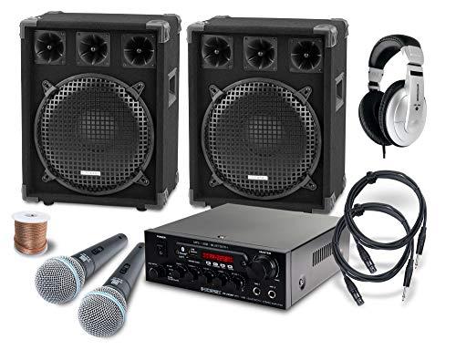 McGrey DJ Karaoke Komplettset PA Anlage Party-2000 (Lautsprecher, 2 x 600 Watt, Bluetooth-Endstufe, Verstärker, Lautsprecherkabel, Kopfhörer, Mikrofon, Klemme, Reduziergewinde, Etui, Mikrofonkabel)