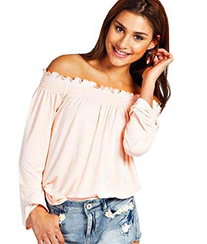 DaBag Donna Camicetta Cotton Maglietta Maglia Blusa Manica Lunga Elegante Sexy Top Rosa