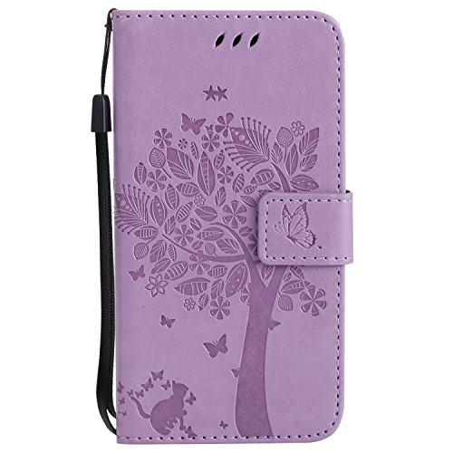 Chreey Motorola Moto G5 Hülle, Prägung [Katze Baum] Muster PU Leder Hülle Flip Case Wallet Cover mit Kartenschlitz Handyhülle Etui Schutztasche [Hell lila]