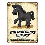 trendaffe - Metallschild mit schwarzes Pferd Motiv und Spruch: Bitte Nicht füttern - Allergiker