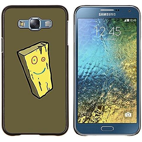 BearCase / Shell posteriore duro della custodia in plastica di copertura di protezione /// Samsung Galaxy E7 E700 /// Formaggio Smiley giallo del fronte della spugna del fumetto