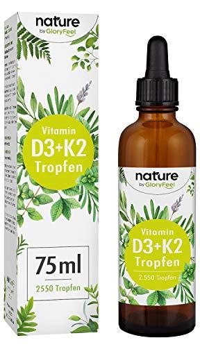 Vitamin D3 + K2 75ml 2550 Tropfen - Premium VitaMK7 von Gnosis® 99,7{118f5258dfa7f7b2c7206bb0162a056046ff80eda2d8f45c414191cffa0be626} All Trans + Vitamin D3 (1000 IE) - Besonders bioverfügbar und stabil - Laborgeprüfte Hergestellung in Deutschland