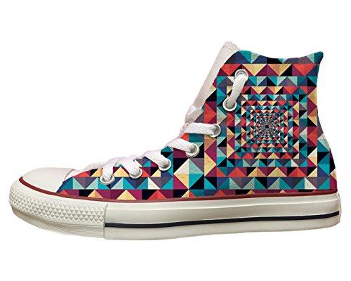 Converse All star personalizzate con stampa Triangoli colorati Multicolor