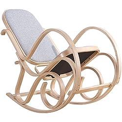 Mecedora relajación cómoda de madera de abedul curvado con asiento acolchado para oficina / Casa (Gris)