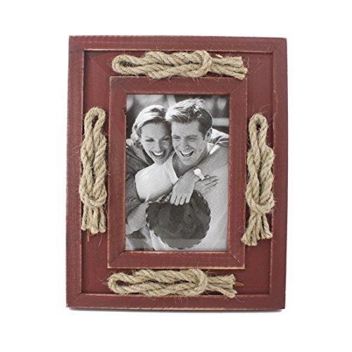 8,9x 12,7cm Retro Holz Bilderrahmen Family mit Seil Dekoration, für Tischplatte, mit Glas vor, holz, rot, 3.5x5 inches (Primitive Bilderrahmen)