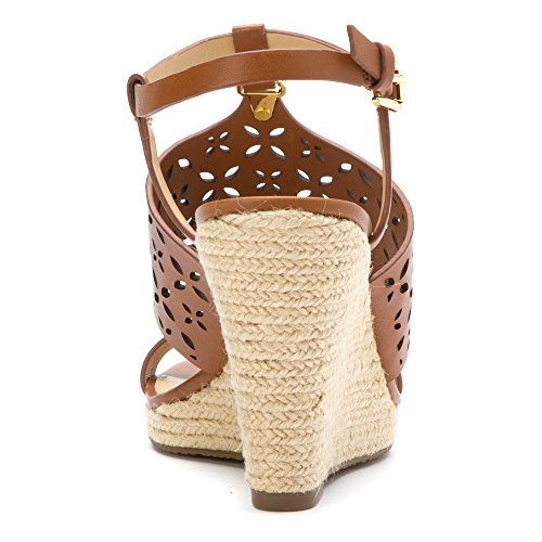 Michael Michael Kors Darci Wedge Leder Keilabsätze Sandale Luggage