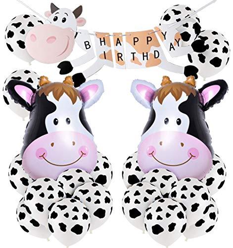 (KREATWOW Bauernhof Geburtstags Dekoration mit Kuh Geburtstags Banner, Kuh Druck Luftballons und Folienballons für Kuh Themen Party)