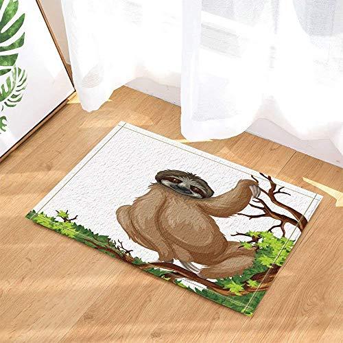 dsgrdhrty Schöner weißer Schnee auf 1 Karikaturgelb-Tierschwarzgrau-Grünholz-rutschfestem Badezimmer-Duschen-Küchen-Samt-Karikatur HD Landschaftsinnenkissen -