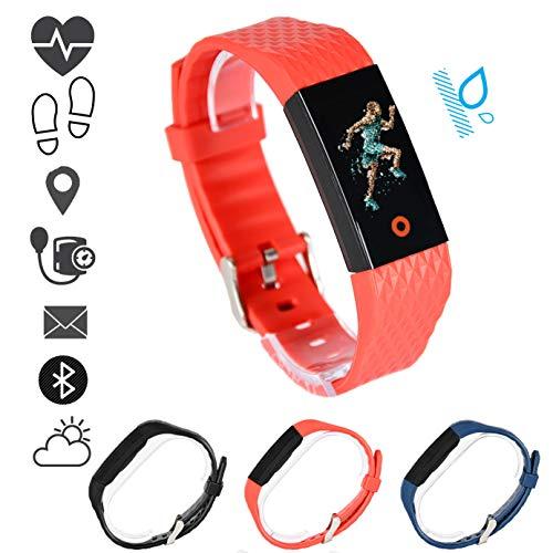MSPORTS Fitness Armband Premium mit Puls- Blutdruckmessgerät und Pulsoximeter I Wasserdicht I Fitness Tracker - Smartwatch für Damen und Herren I Benachrichtigungsfunktion Pulsuhr (Korallrot)