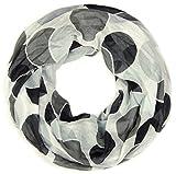 styleBREAKER leichter Sommer Loop im Retro Punkte Design 01014040 (Weiß-Schwarz-Grau)