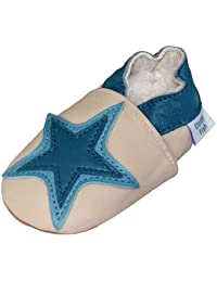 Chaussures de bébé en cuir souple d'étoile de couleur beige et bleu, Dotty Fish garçons