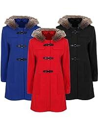 Fur Hood PU Clasp Duffle Coat Plus Size