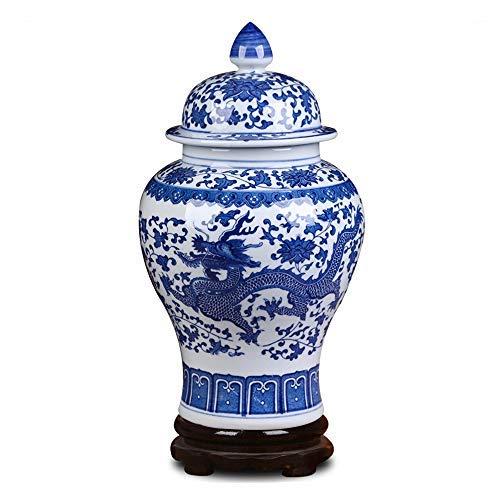 """ufengke Jingdezhen Klassische Blaue und Weiße Porzellan Keramik Vase,Drachen Blumenvase,China Ming-Stil,Höhe 15\""""(38cm)"""