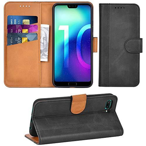 Adicase Huawei Honor 10 Hülle Leder Wallet Tasche Flip Case Handyhülle Schutzhülle für Huawei Honor 10 (Dunkelgrau)