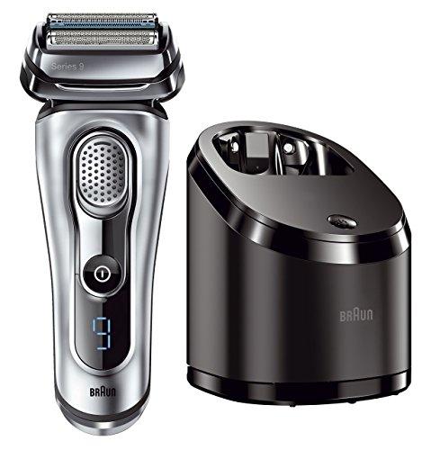 Braun Serie 9 9090cc Rasoio elettrico a lamina, sistema Clean & Charge, Argento satinato