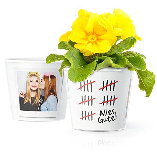 Facepot Geburtstag 25 Jahre Blumentopf (ø16cm) | Lustiges Geschenk zum 25.Gebrutstag, Mann, Frau oder 25 jähriges Firmenjubiläum mit Bilderrahmen für Zwei Fotos (10x15cm) | Alles Gute - Strichliste