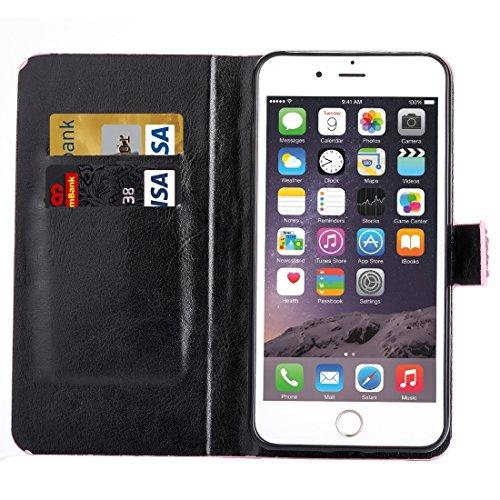 Phone case & Hülle Für iPhone 6 / 6s, Regentropfen Pattern Horizontale Flip Leder Tasche mit Halter & Card Slots ( Color : Dark red ) Black