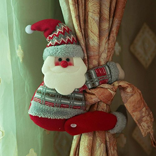 ARVIN87LYLY Christmas morsetto gancio di fissaggio tenda fibbia fibbie tende finestra tenda fermatenda forniture Babbo Natale regali di Natale tenda decorazione, Christmas curtain buckle old man