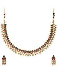 Zeneme Kundan Polki Red & Green Designer Necklace Set With Earring For Women