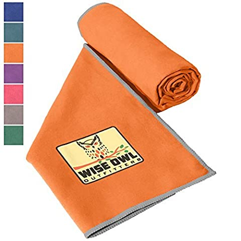 Wise Owl Outfitters Camping Towel - Ultra Soft Compact Quick Dry Microfiber - Great For Fitness, Hiking, Yoga, Travel, Sports, Backpacking & The Gym XL 30x60 Orange