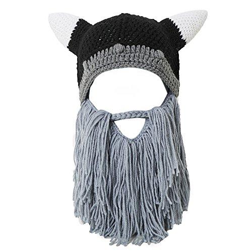 (Lantra Besa Wikinger Piraten Cosplay Bartmütze Lustige Strickmütze mit Abnehmbarem Vollbart Maske für Karneval Halloween Geburtstag Party CC0009 - Erwachsene, Grauer Bart)
