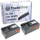 2x Trade-Shop Hochleistungs Ni-MH Akku 18V / 1500mAh ersetzt Gardena 8834-20 für Gardena 648844, 648872, Heckenschere EasyCut 42 Accu (8872), Turbotrimmer SmallCut 300 Accu (8844)