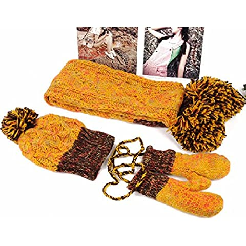 ZHGI Hat ragazza versione coreana di inverno caldo colore incantesimo insieme cappelli di lana sciarpa guanti in tre pezzi suit,giallo