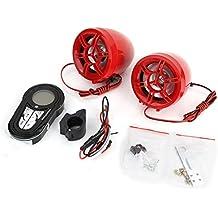 "Rupse Altavoces Impermeable Motocicleta ATV UTV Manillar de Bici Sistema de Audio MP3 Bluetooth Radio FM con Pantalla 3"" Rojo Trompeta Trompa"