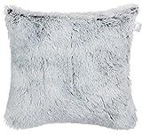 Brandsseller Zottel Kissen (Antartic) Kuschelkissen/Dekokissen / Zierkissen Glänzend mit Farbschimmereffekt und Kuschelfüllung - Größe: 40 x 40cm - Farbe: Grau