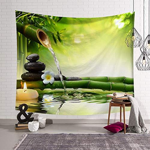 MIANJUNAN Wandteppiche,Wasser Stein Bambus Drucken Wandteppiche,Große Couch Decke Hängende Tuch Böhmischen Strand Handtuch Werfen,Für Zu Hause Wanddekoration Tischdecke,150 X 130Cm -