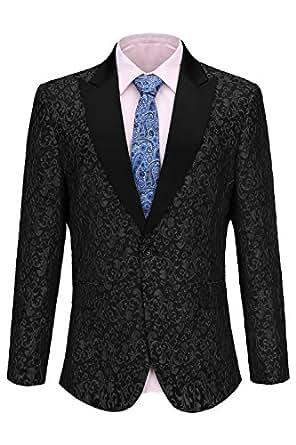Fisoul Men's Slim Fit Shawl Lapel Casual One Button Formal Suits Coat Tuxedo Jacket Business Blazer (Black, Small)