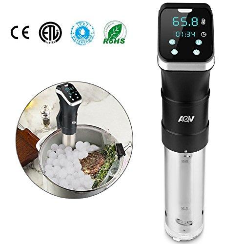 Cocina con precisión con SOUS VIDE, AQV sistema de inmersión profesional, resistencia total al agua IPX7 con medidor de temperatura y tiempo, pantalla digital LCD, ergonómico y construido en metal.