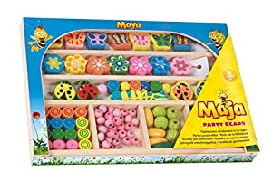Lena 32022 Craft Set Wooden Beading Beads Party Beads Bee Maja Beading Set with 75 Beading Beads and 25 Animal Shaped Pendants Wooden Beading Set Jewellery Making Set in Wooden Case Colourful