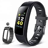Color Fitness Armband,Antimi Wasserdicht IP67 Fitness Tracker Herzfrequenzmonitor Zeige Temperatur Wetter Schrittzähler Kalorienzähler Uhr Pulsuhren für Android iOS smartphones (Schwarz+one Wristband)