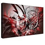LANA KK Luxus Ausführung'Grow Red' Abstraktes Design auf 4cm Echtholz, dunkelRot, 100 x 70 cm