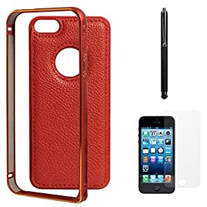 DMG Metal Frame and Leather Back Bumper Dual Protection Cover Case For Apple iPhone 5/5S (Red) + Matte Screen + Stylus