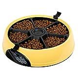 XDYFF Distributori Automatici di Cibo con Digital Timer Serve 6 pasti Possono Essere registrati Ration temporizzazione Display LCD per Gatti e Cani di Piccola Taglia,Yellow