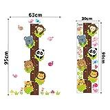 VERYWAN Adesivo murale Cartone Animato monkey Tree Rattan Tabella di Crescita Adesivi murali per Bambini camere Decor Fai da Te Altezza Animale Misura Decalcomanie della Parete PVC Arte murale