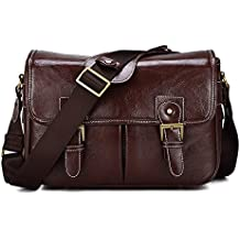Waterproof Vintage fashionable PU Leather DSLR Camera Bag Shoulder Messenger Bag Fit DSLR with 2 lenses For Canon Sony Nikon Canon Olympus And So On (Coffee)