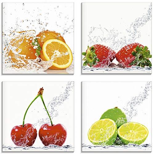 Artland Glasbild Wandbild Glas Bild 4er Set 4 teilig je 30x30 cm Essen Lebensmittel Obst Bunt Früchte im Wasser Orange Limette Erdbeere Kirsche S6MJ