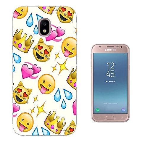 001307 - Cool Fun Trendy Cute Kawaii Colourful Emoji Apps Emoticons Hearts Smiley Face Funny Design Samsung Galaxy J3 2017 (EU Version) Fashion Trend Protecteur Coque Gel Silicone protection Case Coque