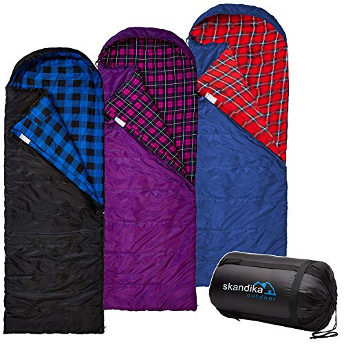 Skandika Erwachsene Dundee Decken-Schlafsack, Luxus-Qualität, Baumwolle/Flanell Innenfutter, bis -20°C, 220x80 cm, koppelbar