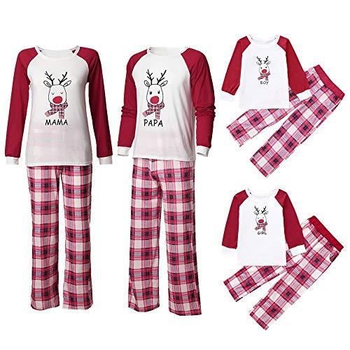 Riou Weihnachten Familie Pyjamas Outfits Set Deer Gedruckt Nachtwäsche Schlafanzug Homewear für Kinder Eltern Jungen Mädchen Baby Kleidung Set Kinder PJS Pullover Weihnachten Outfits (100, Jungen)