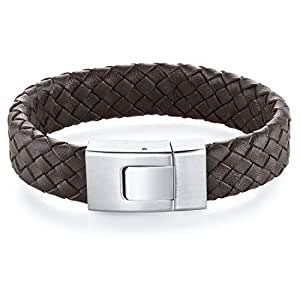 Revoni Mens Buckle style Brown Woven Leather and Steel Bracelet