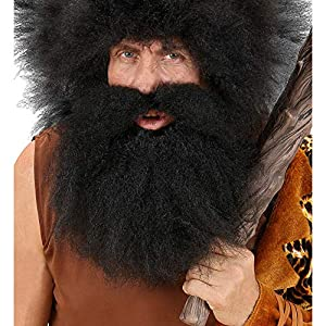 WIDMANN CAVE MAN Black Moustache and Beard Fancy Dress (peluca)