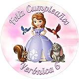 OBLEA de papel de azúcar personalizada, 19 cm, diseño de Disney La Princesa Sofía