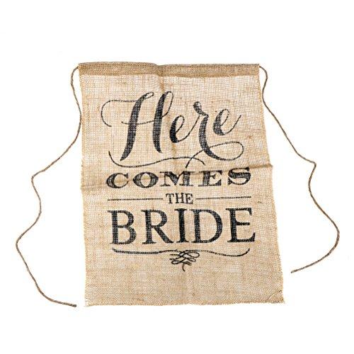 einen Hier KOMMT DIE Braut Chic Wedding Hessian Zeichen Hochzeit Blumenmädchen Zeichen Braut Dusche Bunting Banner Flags ()