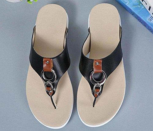 Mit schweren Boden Pantoffel Frauen-Sandalen Schuhe Wild Black